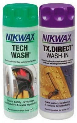 Nikwax Tech Wash & TX Direct Twin Pack Cleaning Waterproof Outdoor Clothing