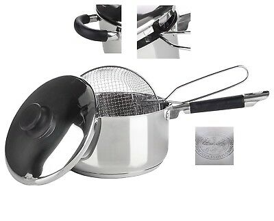 Stainless Steel Deep Chip Pan Pot Fat Fryer With Lid Basket Induction Hob P8164