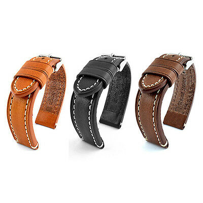 22mm Mens Genuine QUALITY Leather Watch STRAP BAND Catalonia black brown 22 /20