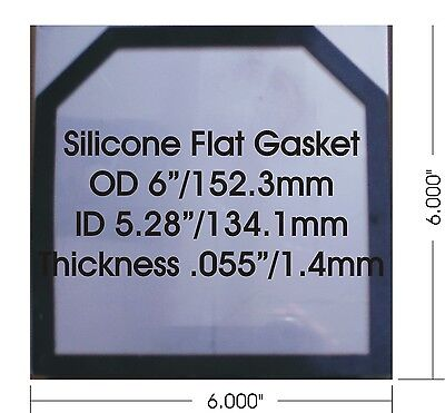 "24 Qty HHO High Temp Flat Silicone Gaskets 1.44 mm/0.055"" for 6"" x 6"" Plates"