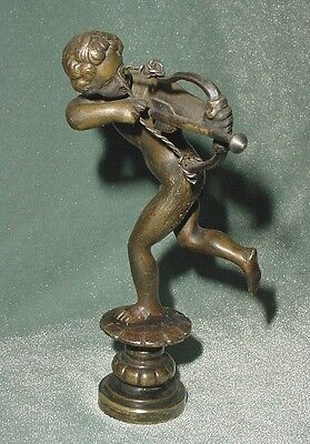 ANTIQ BRONZE STATUE FIGURE NAKED BOY CHERUB CUPID ARCHER WAX SEAL (NDP) SIGNED