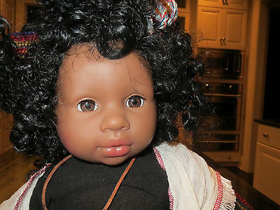 """Vintage African American Doll 22"""" tall Made in Germany Zapf Creation Very Rare"""