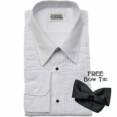 Mens White Pleated Tuxedo Shirt, Laydown Collar- FREE BOW TIE- NEW-Wedding Prom