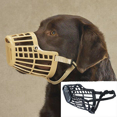 Dog Basket Muzzle Flexible Cage Guardian Gear adjustable no bite w/ nylon strap