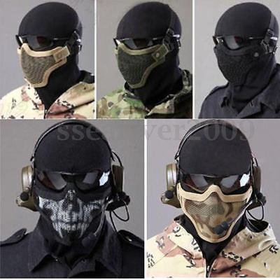 Acier Grillage Demi-masque visage Airsoft Paintball Chasse Housse protection