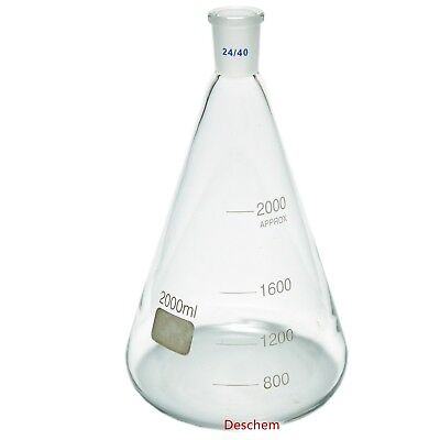 2000ml,24/40,Glass Erlenmeyer Flask,2 Litre,Conical Flasks,Laboratory Glassware