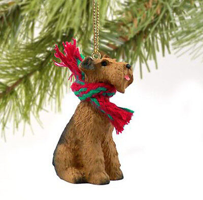 AIREDALE TERRIER DOG  CHRISTMAS ORNAMENT HOLIDAY  Figurine Scarf