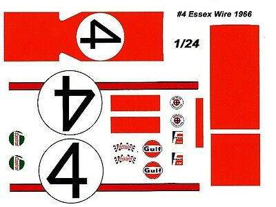 #4 Gregory/Whitmore 1966 Ford GT40 1/25th - 1/24th Scale Waterslide Decals