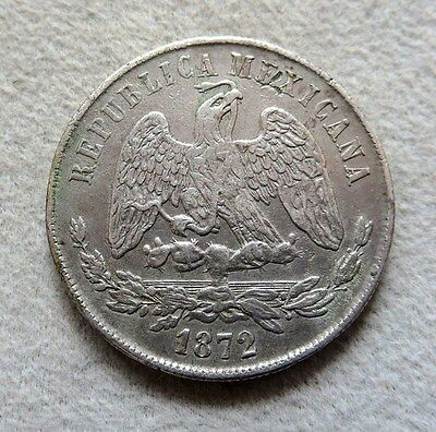 1872 Zs H SILVER MEXICO PESO COIN CHOICE EXTREMELY FINE CONDITION