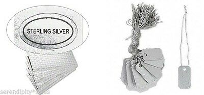 "100 PVC JEWELRY Price TAGS 1"" x 1/2"" w/ String + 100 ""Sterling Silver "" Labels"