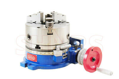 """SHARS 8"""" Horizontal and Vertical ROTARY TABLE W/ 8"""" 3 JAW SELF CENTERING Chuck"""