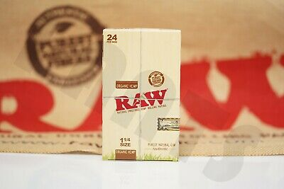 FULL BOX (24 packs) OF AUTHENTIC RAW ROLLING PAPER ORGANIC HEMP 1 1/4 NATURAL