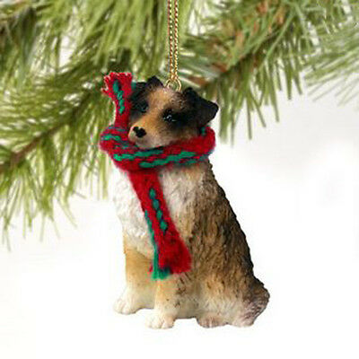 AUSTRALIAN SHEPHERD DOG CHRISTMAS ORNAMENT HOLIDAY XMAS Figurine Scarf Pet Brown