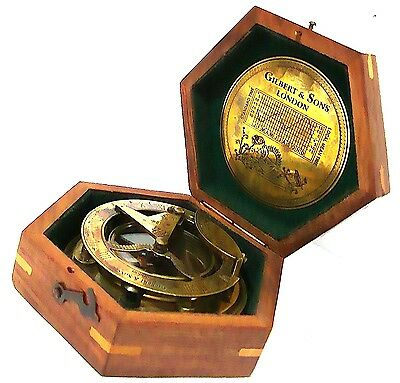 Gilbert Brass Decorative Sundial Compass with Rose Wood Box
