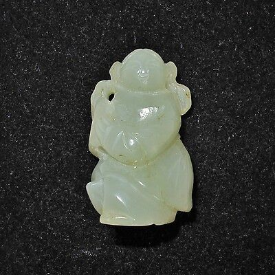 "1.5"" Antique ? Chinese 38mm Carved Green or White Nephrite Jade Lady Pendant"