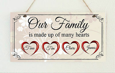 Beautiful Handmade Personalised Plaque Our Family Hearts Gift Sign Present Chic