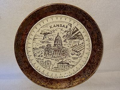 Vintage Crest O Gold 22K Kansas Collector Plate- Made in USA
