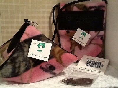 SUGAR GLIDER FLEECE CAGE &  TRAVEL / BONDING  POUCH WITH LEASH (pink Camo)