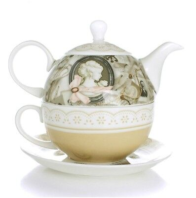 Tea for One Teapot Set with CUP & SAUCER Vintage Lady New Bone China Porcelain