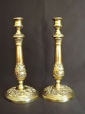 Antique French Bronze  Pair of Candlesticks 18th C Louis XV