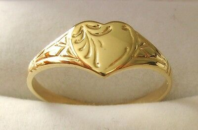 GENUINE 9ct SOLID GOLD UNISEX HEART LOVE SIGNET RING Sizes  J/5 to Q/8.5