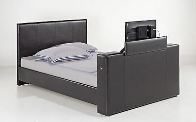 """Luxury Panel Stitched Design Faux Leather TV Bed for 32"""" TV with Mattress Option"""