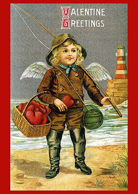 VIntage Postcard Valentine Be My Boy Fishing Cupid Hearts Reproduction 14x18New