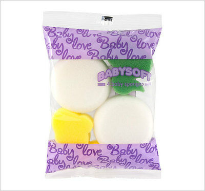 4 Sponges Baby Infant Toddler Fun Soft Shaped Bath Shower Accessory Sponge New
