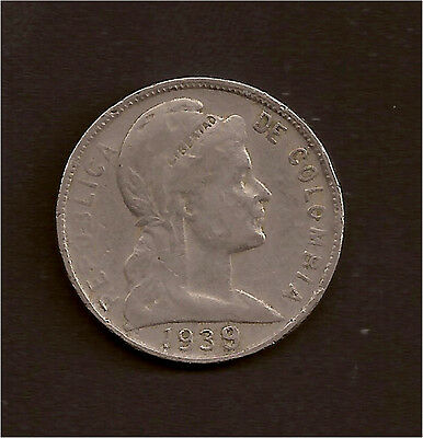 World Coins - Colombia 5 Centavos 1939 Coin KM # 199