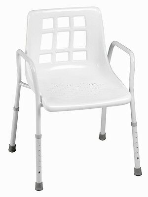 SHOWER CHAIR with BACK and ARMS White Lightweight ADJUSTABLE rust proof **SALE*