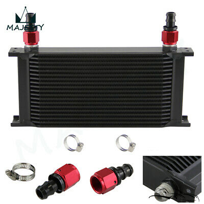 Universal 19 Row AN10 Engine Transmission Oil Cooler + 2Pcs Fittings Black
