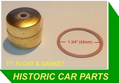 "Morris Minor MM 918 1948-52 - 1 x T1 BRASS FLOAT & Gasket for 1 1/8"" H1 SU Carb"
