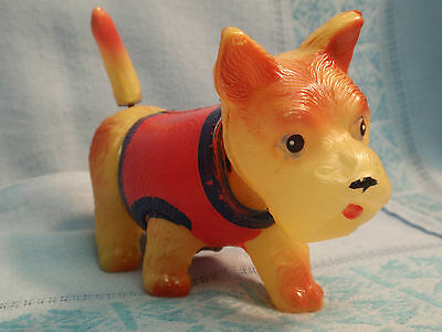 J222) Celluloid Scottie Nodder & Wind-Up Wagging Tail, MADE IN OCCUPIED JAPAN