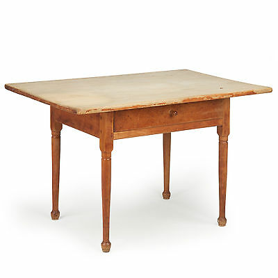 American Painted Antique Tavern Table, Scrubbed Pine One Board Top, 19th Century