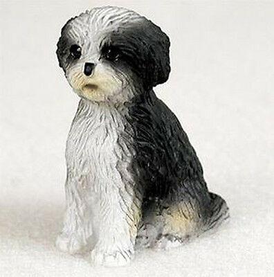 SHIH TZU BLACK WHITE  TINY ONES DOG Figurine Statue Resin SPORT PUPPY CUT
