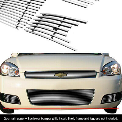 Fits 2006-2013 Chevy Impala Billet Grille Grill Insert Combo