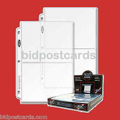 100 BCW 2-Pocket Archival Display Pages Sheets for 5x7 Cards Photos Album Refill
