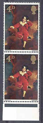 GB = Constant Variety, 1967 4d British Paintings. R5/3. MNH. Positional Pair
