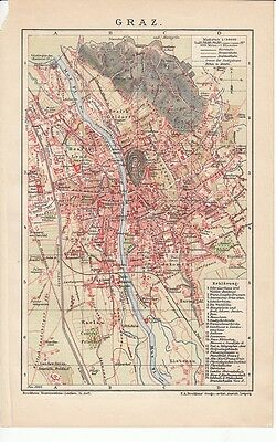 c. 1890 AUSTRIA GRAZ City Plan Antique Map