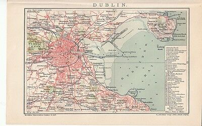 c. 1890 IRELAND DUBLIN CITY PLAN Antique Map