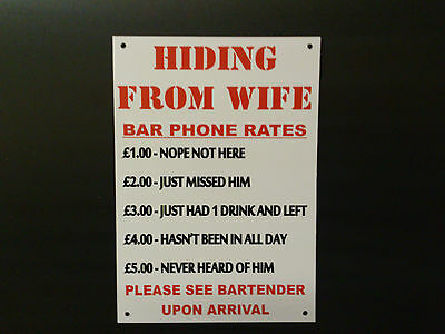 Funny Sign Hiding From Wife, Wine Bar, Pub, Social Club Plastic / Sticker A5