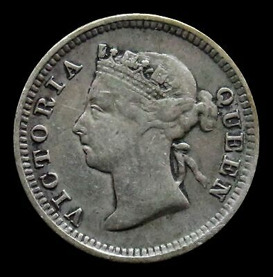 1888 Silver Straits Settlements 5 Cents British Crown Colony Very Fine Condition