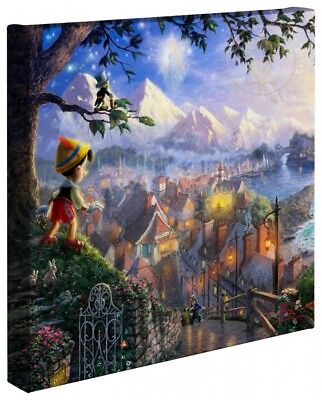 Thomas Kinkade Pinocchio 14 x 14 Gallery Wrapped Canvas Disney Wrap