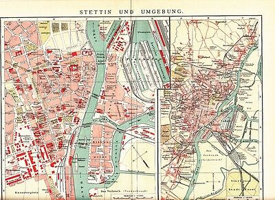 c. 1890 POLAND STETTIN Szczecin & OUTSKIRTS CITY PLAN Antique Map