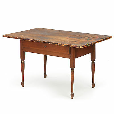 American Painted Antique Tavern Work Table, New Hampshire c. 1830, Pine & Birch