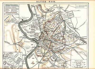 c. 1890 ITALY ANCIENT ROME ROMA CITY PLAN HISTORY Antique Map