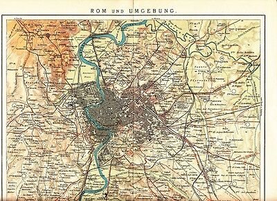 c. 1890 ITALY ROME ROMA & OUTSKIRTS CITY PLAN  Antique Map