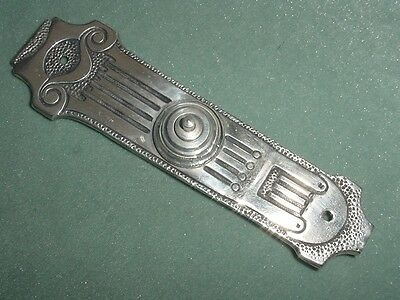 Antique Art Deco Silverplated Bronze Main Door Bell Ring Button Plate 6.80""