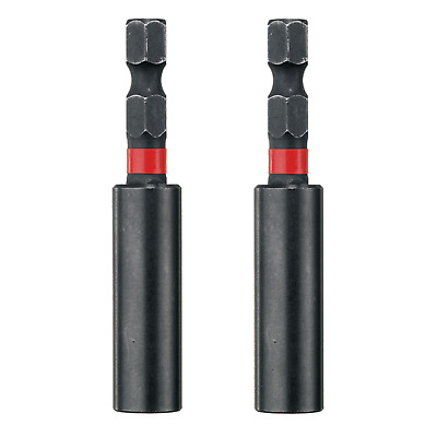 "2 x New Milwaukee Shockwave Impact 1/4"" Magnetic Bit Holder Screwdriver 60mm Hex"
