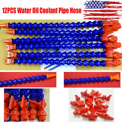 12PCS Flexible Plastic Water Oil Coolant Pipe Hose For Lathe CNC With Switch